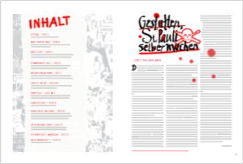 Erste Doppelseite der ersten Ausgabe der Stadtteilzeitung St. Pauli